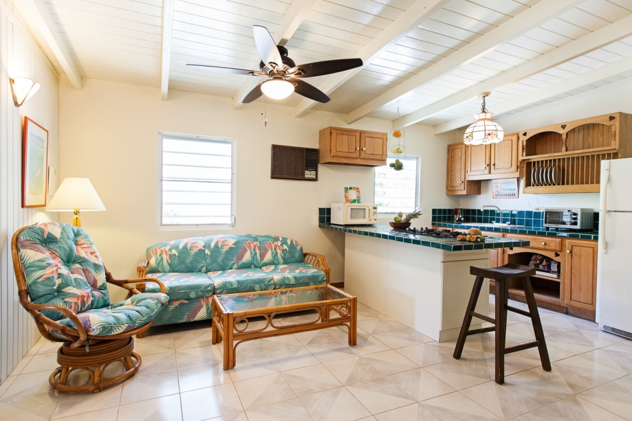 The cheery open plan of the Cottage features a couch and easy chair, full kitchen, and dining table seating four. The bedroom can be separated by a pocket door, and the bath is off the entry way. Plenty of closets and storage are provided!